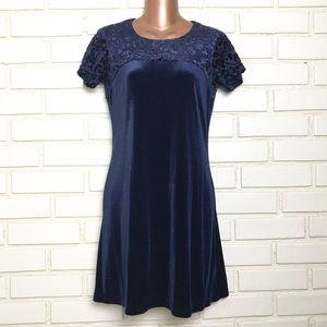 Vintage Tessuto Petites Blue Velvet Burnout Dress